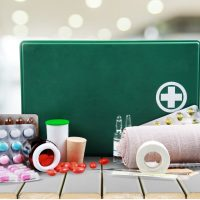 Medical kit packed for travelling